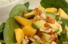 mangosalat-med-avocado-pa-bund-af-spinatblade-og-rucola