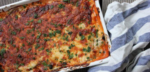 Squash og aubergine lasagne