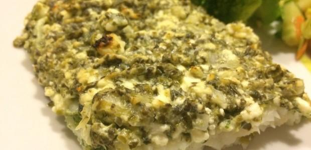 Pangasius med feta og spinat